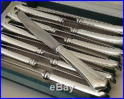 Ravinet D'enfert Modele Brantome 12 Couteaux Entremet Metal Argente Et Inox 1970