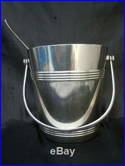 Seau glace metal argente Christofle cuillere glaçons modele Fidelio christofle