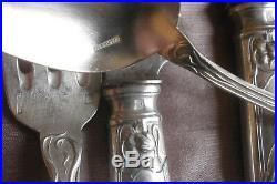 TRIBAUDEAU / BOULENGER Ménagère art nouveau métal argenté Modèle fleur Tulipe