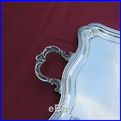 Très grand plateau en métal argenté orfèvre R M modèle rocaille