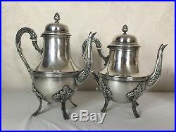 #Yd#Service à thé café en métal argenté Théière sucrier pot à lait model rubans